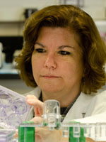 Linda deGraffenried, PhD, in her lab at the University of Texas.