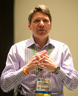 Drew Pardoll, MD, PhD, addresses participants in the Scientist↔Survivor Program at the AACR Annual Meeting 2014.