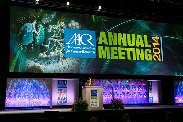 Margaret Foti, PhD, MD (hc), speaks during the opening ceremony of the AACR Annual Meeting 2014 in San Diego.