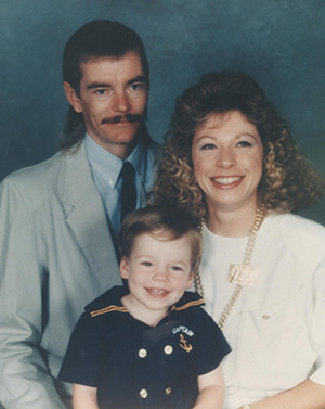 Mangskau's brother-in-law Bruce Van Sickle with his wife Linda and son Jason.