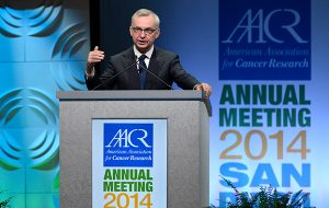 AACR President José Baselga, MD, PhD, seen here during the AACR Annual Meeting 2014, was among the cancer experts who spoke at today's special briefing on precision medicine.
