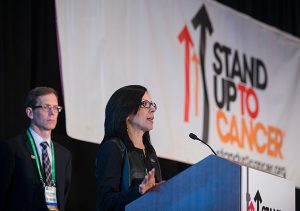 Elizabeth Jaffee, MD, leader of the SU2C-The Lustgarten Foundation Pancreatic Cancer Convergence Dream Team, speaks during last year's SU2C Dream Team announcement at the AACR Annual Meeting. With her is the Team's co-leader, Robert Vonderheide, MD, DPhil.