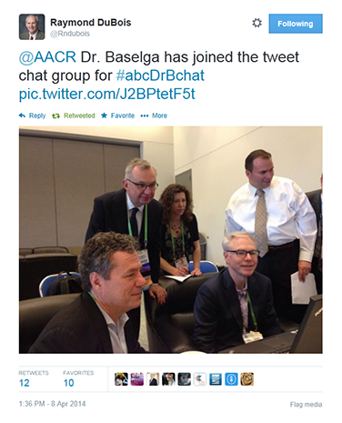 DuBois shares a scene from the AACR Annual Meeting 2014 on Twitter. In this photo, Scott Lowe, PhD, José Baselga, MD, PhD, and Charles Sawyers, MD, participate in an ABC News Twitter chat on breakthroughs in cancer research, held to coincide with the meeting. DuBois and a number of other attendees joined the chat as well.
