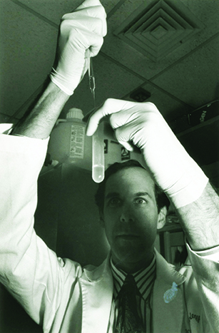 The documentary spanned the history of cancer research, including advances such as the development of imatinib (Gleevec) for treatment of chronic myelogenous leukemia. AACR Fellow Dr. Brian Druker, shown here in his lab, was instrumental in the development of this drug. Photo courtesy of Oregon Health & Science University.
