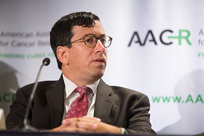Dr. Edward Garon during a press conference at the AACR Annual Meeting 2015 where he presented data from the KEYNOTE-001 trial.