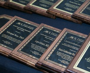 Plaques lined up at the grantee dinner during the AACR Annual Meeting 2014.