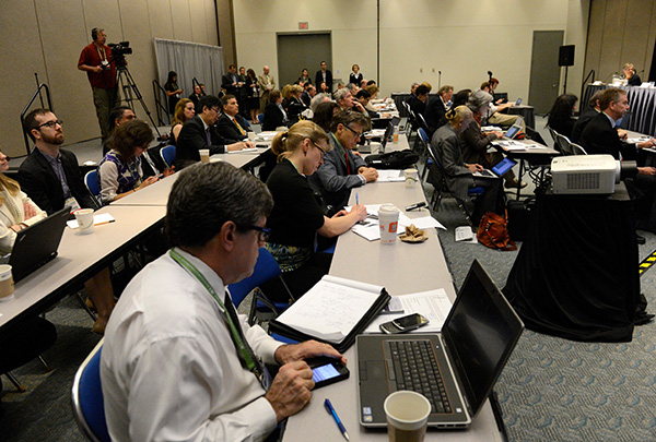 The scene during a press conference at the AACR Annual Meeting 2014 in San Diego. The AACR will host three press conferences highlighting noteworthy research this year.