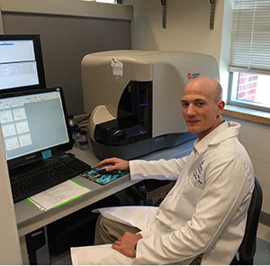 Dr. Eric Lutz, 2013 recipient of the Pancreatic Cancer Action Network-AACR Career Development Award, in his lab.