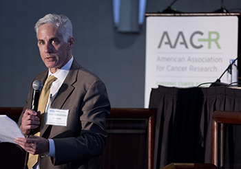Eric Rubin, MD, speaks during a workshop on dose-finding of small molecule oncology drugs held by the FDA and the AACR last month. Photo by Alan Lessig.