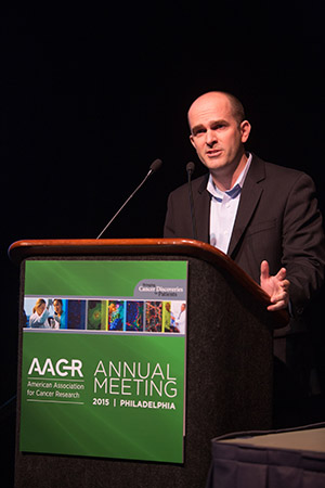 Christopher R. Vakoc, MD, PhD, recipient of the 35th Annual AACR Award for Outstanding Achievement in Cancer Research, presents his award lecture at the AACR Annual Meeting 2015.