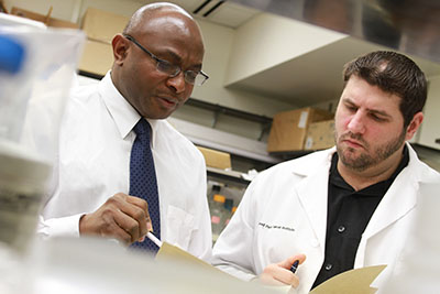 Dr. Odunsi in the lab. Photo courtesy of Roswell Park Cancer Institute.