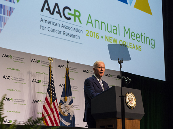 Vice President Joe Biden speaks during the closing plenary session at the AACR Annual Meeting on Wednesday April 20, 2016. Photo by © AACR/Todd Buchanan 2016