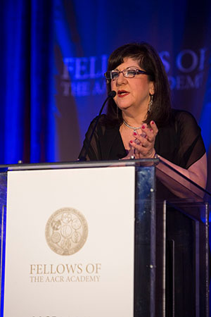 AACR CEO Margaret Foti, PhD, MD (hc), speaks at the induction of the Fellows of the AACR Academy at the 2015 AACR Annual Meeting. Photo by © AACR/Todd Buchanan 2015.