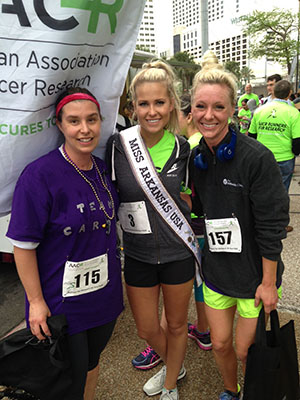 Aime Franco, PhD (left), with Miss Arkansas and one of her grad students after running the AACR Annual Meeting 2016 5K.