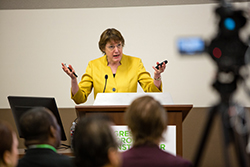 "AACR President Nancy Davidson, MD, speaks to a full room at the ""Progress and Promise Against Cancer"" community event in New Orleans. Photo by © AACR/Scott Morgan 2016"
