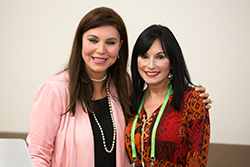Event Emcee Meg Farris (left), medical reporter for WWL-TV (CBS) in New Orleans and patient advocate Kim Sport (right). Photo by © AACR/Scott Morgan 2016