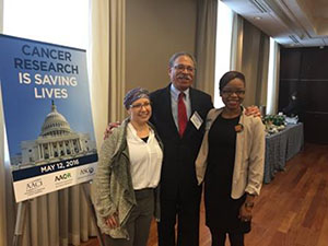 SSP participants (from left to right) Lori Marx-Rubiner, MSW, MA, William (Billy) Foster, and Jameisha (Meisha) Brown at the May 12 AACR-AACI-ASCO Hill Day in Washington, D.C.