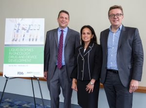 Workshop co-chairs, Pasi JŠnne, MD, PhD, left, Reena Philip, PhD, center, and Gideon Blumenthal, MD, right, during the FDA-AACR: Liquid Biopsies in Oncology Drug and Device Development workshop at Walter E. Washington Convention Center in Washington, DC, on Tuesday, July 19, 2016. (Alan Lessig/)