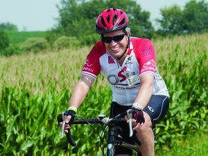 Michael Caligiuri, MD, who rides the 180-mile course in the Pelotonia each year. Photo by Jo McCulty, The Ohio State University
